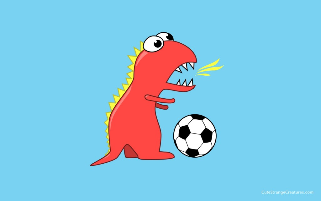 Blue soccer playing dinosaur desktop wallpaper