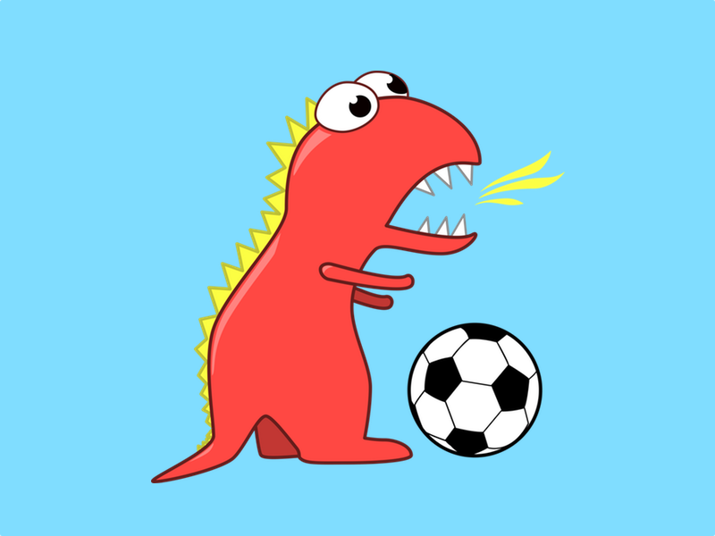 dinosaur soccer player illustration