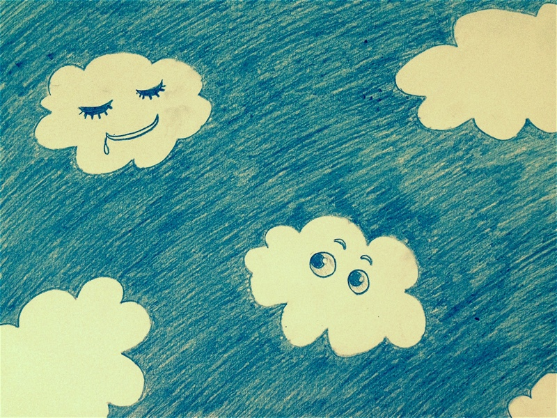 Funny clouds pencil drawing