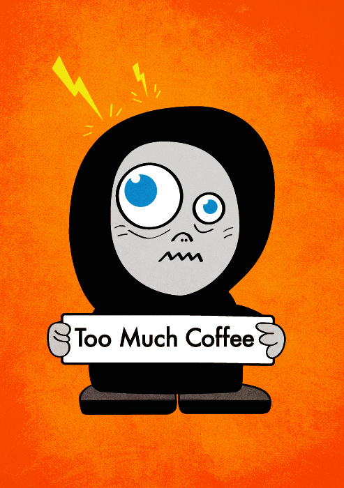Funny coffee illustration with a cartoon character - coffee addict.