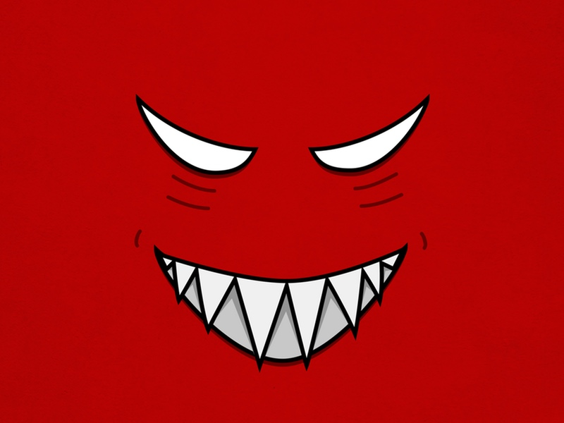 Evil grin - vector illustration of a grinning cartoon monster