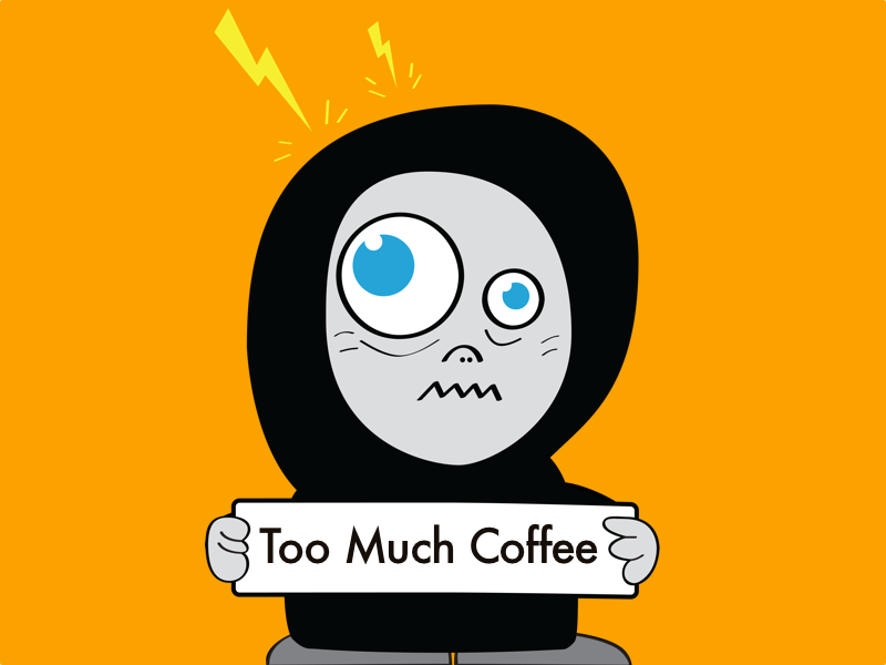 Funny illustration of a cartoon character - coffee addict