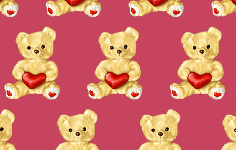 Pink teddy bear pattern