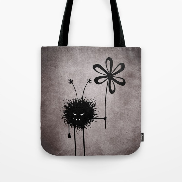tote bags with the evil flower bug at my Society6 store - fun, weird , with a gothic touch