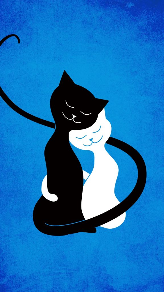 Blue love cats iPhone wallpaper