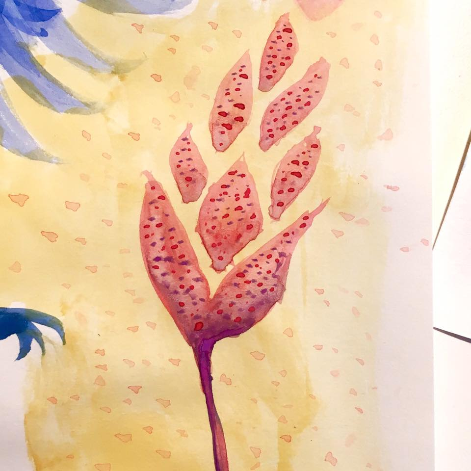 Alien wheat plant watercolor sketch