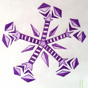 Purple snowflake watercolor sketch