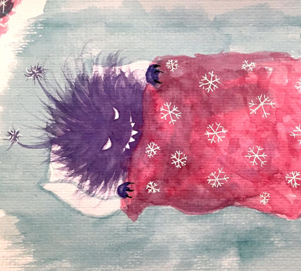 Watercolor sketch of a sleepy evil creature