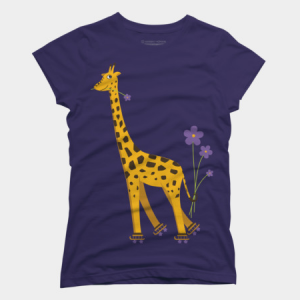 Funny skating giraffe t-shirt by boriana at Design By Humans