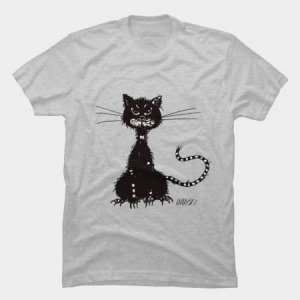Ragged evil black cat t-shirt by boriana at Design By Humans