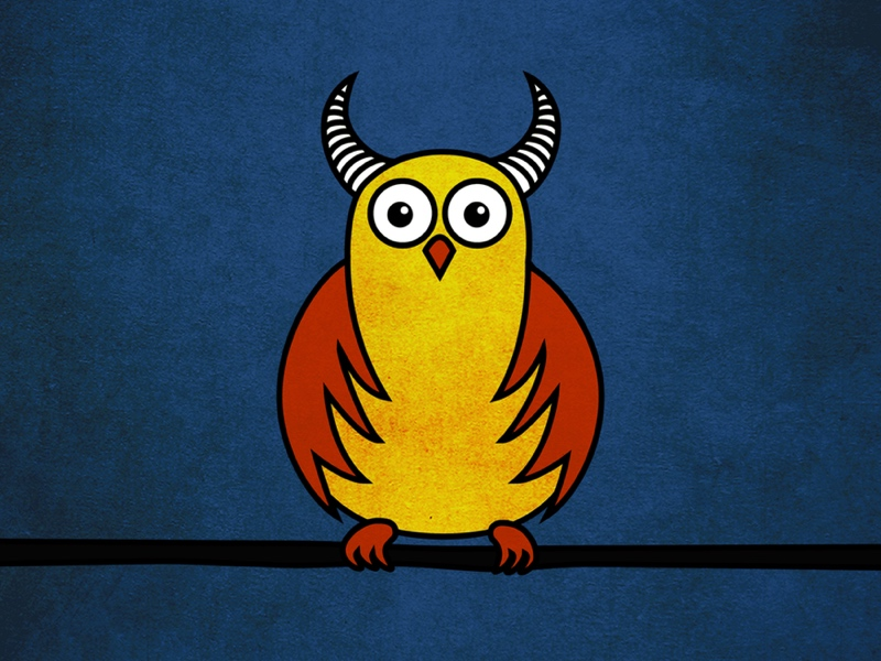 Cartoon illustration of a funny horned owl