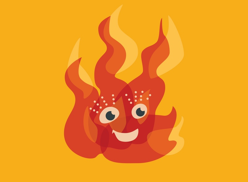 Cute flame character vector illustration