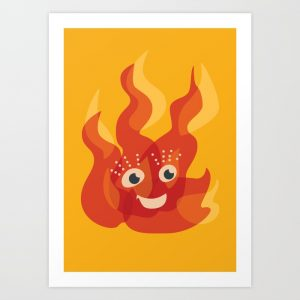 Cute flame character art print / Society6
