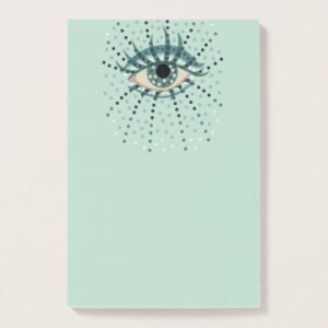 Dotted blue eye post-it notes