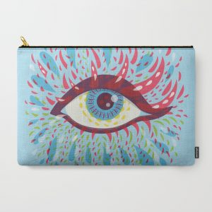 Blue psychedelic eye zip pouch / Society6
