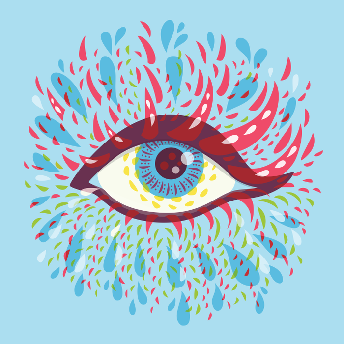 Blue psychedelic eye vector illustration - art prints available at Redbubble