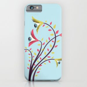 Weird eyes iPhone case with a colorful vector illustration of a strange flower with eyes looking at all directions.