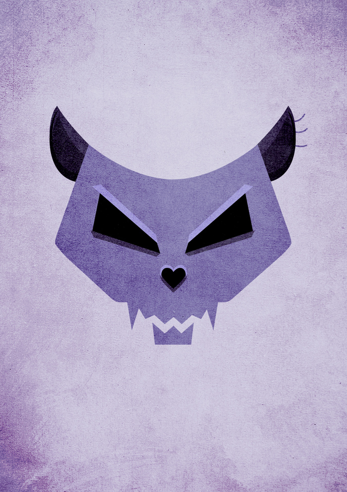 Purple Evil Cat Skull art prints at Society6