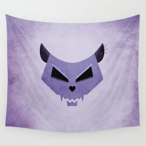 Purple Funny Evil Cat Skull wall tapestry / Society6
