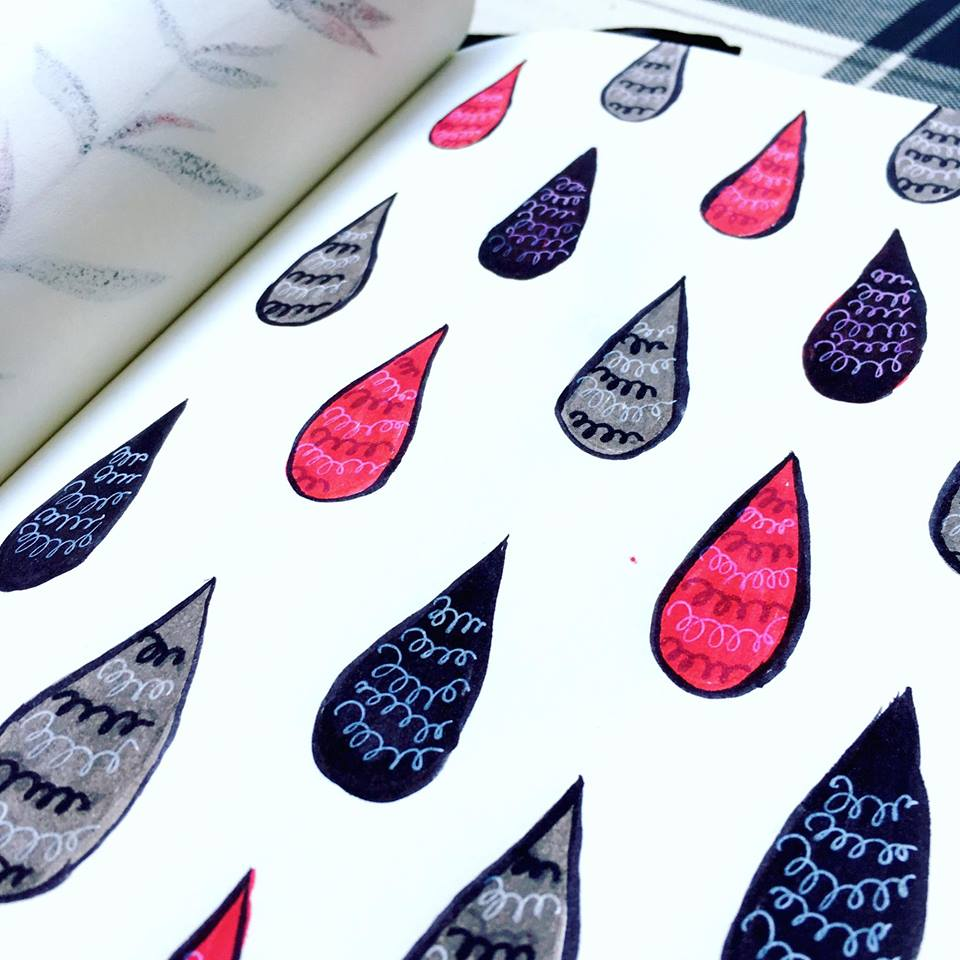 drops pattern in black, grey and red, one of my recent ink sketches
