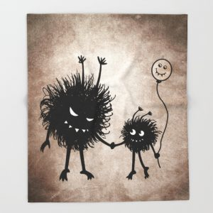 Evil bug mother and child blanket at Society6