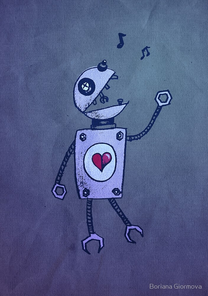 Geek art print with an illustration of a cartoon robot singer