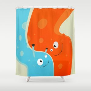 Happy mother and child shower curtain at Society6