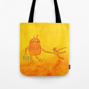 Robomama robot mother and child tote bag at Society6