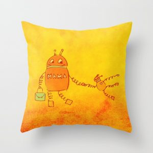 Robomama robot mother and child pillow at Society6