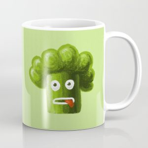 Funny broccoli character mug at Society6