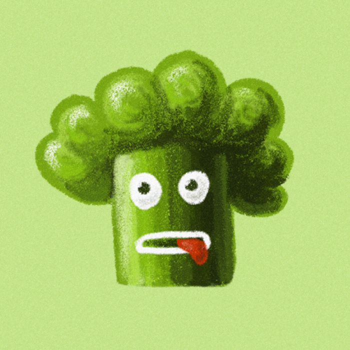 Funny broccoli character art print at Society6