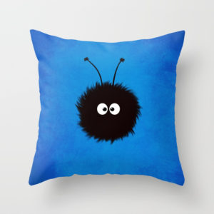 Blue cute dazzled bug pillow at Society6