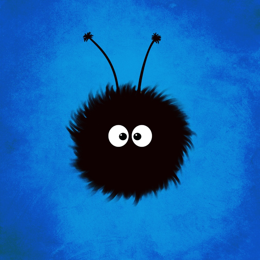Cute character illustration of a blue fluffy creature with big eyes over blue textured background