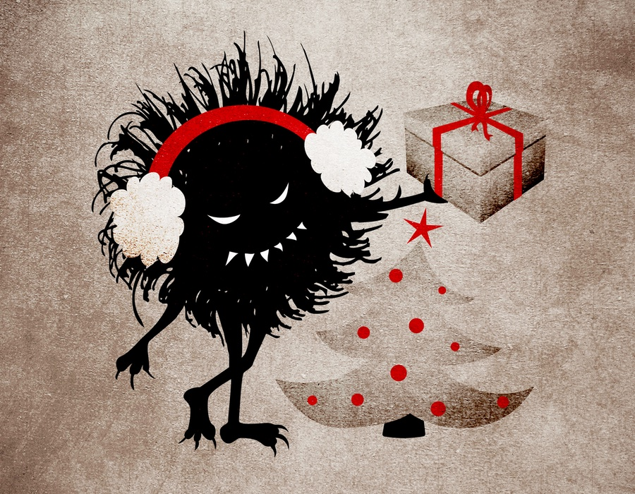 Evil Christmas illustration with a grinning character holding a present