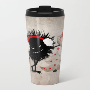 Evil Bug Gives Christmas Present travel mug at Society6