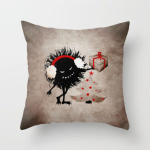 Evil Bug Gives Christmas Present pillow at Society6
