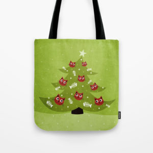 Cat Christmas tree tote bag at Society6