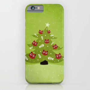Cat Christmas tree iPhone case at Society6