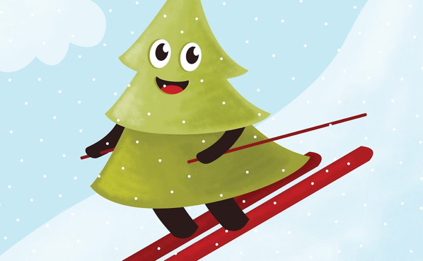 Happy pine tree on ski illustration