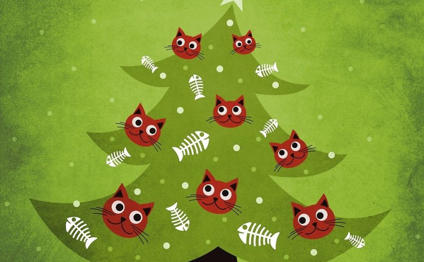 Cat Christmas tree illustration and products