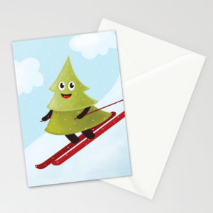 Pine tree on ski cards at Society6