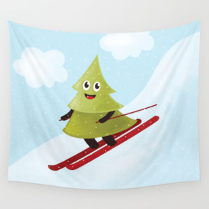 Pine tree on ski wall tapestry at Society6