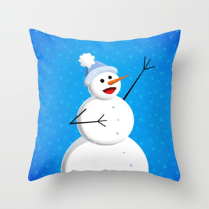Singing snowman in blue pillow at Society6