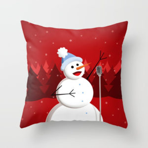 Singing snowman in red pillow at Society6