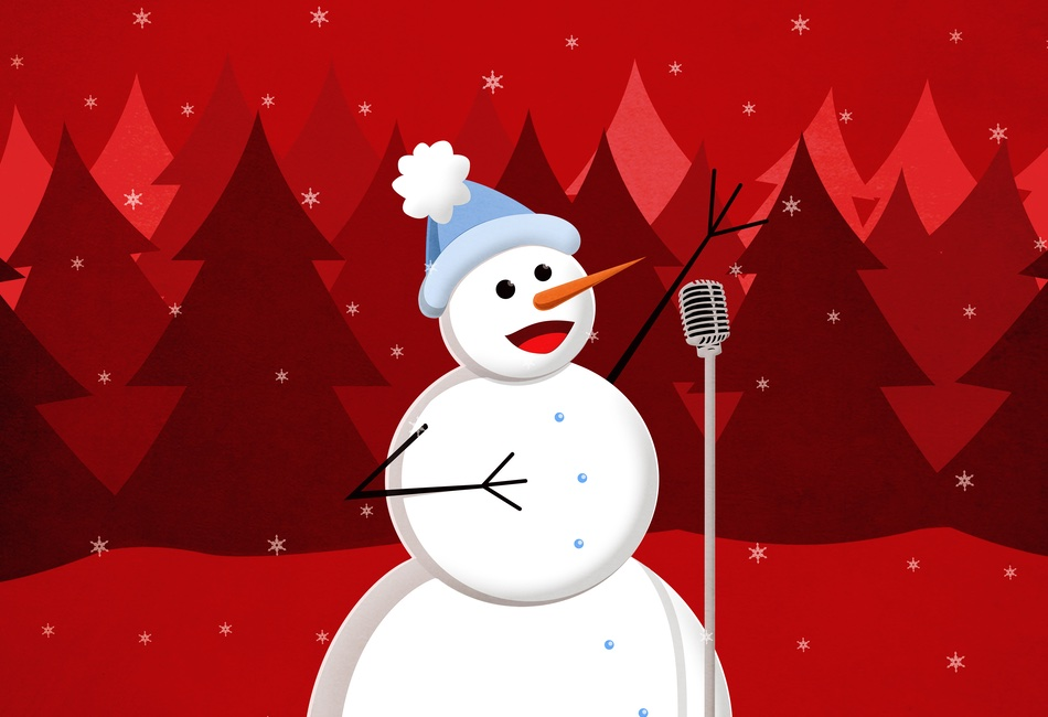 Singing snowman illustration