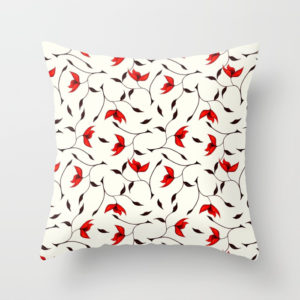 Strange red flowers pattern throw pillow at Society6