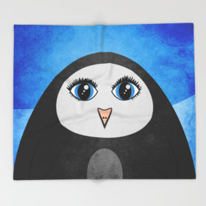Geometric penguin fleece blanket at Society6