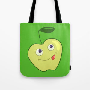 Green apple character bag at Society6