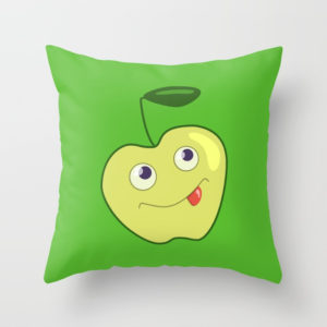 Green apple character pillow at Society6