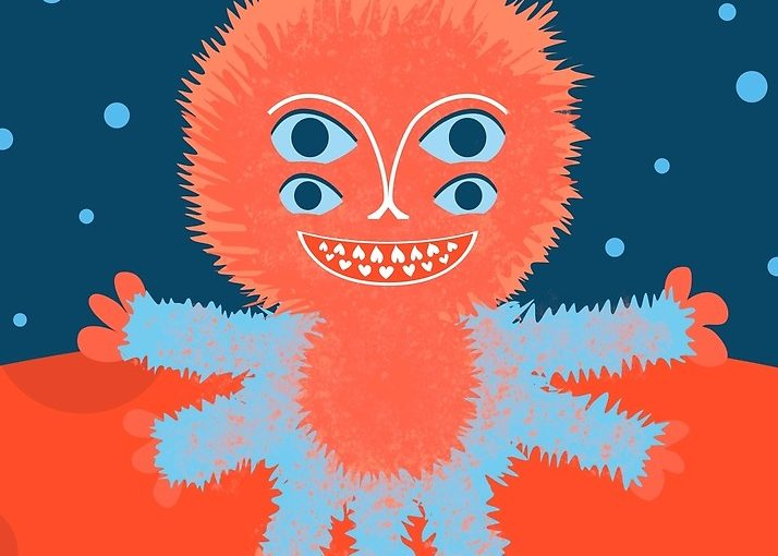 Fluffy alien cartoon illustration